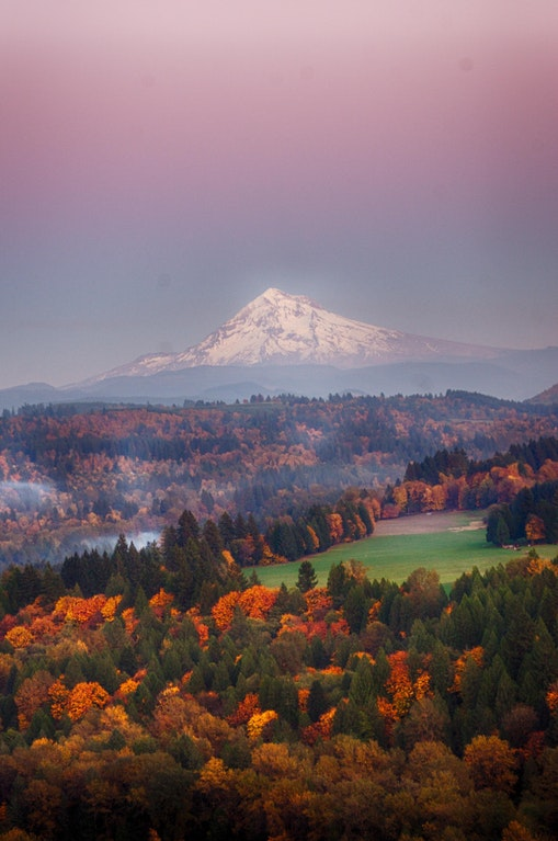 Mt. Hood as seen from Jonsrud viewpoint, Oregon at sunset in late fall - sistasa - bit.ly2FKYPlY