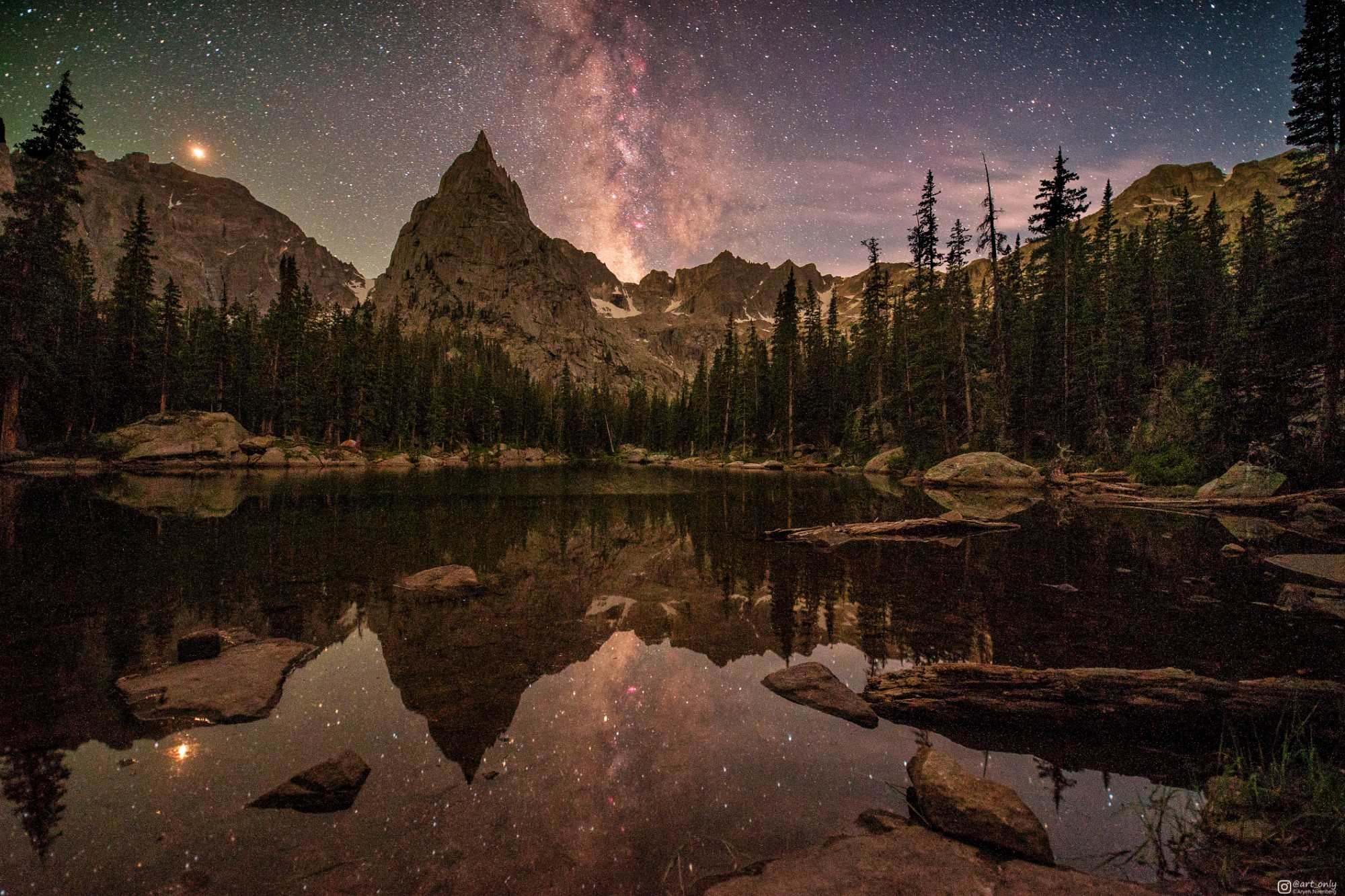 Mars and the Milky Way at a lake in Colorado - aryeh95 - bit.ly2OOreZe