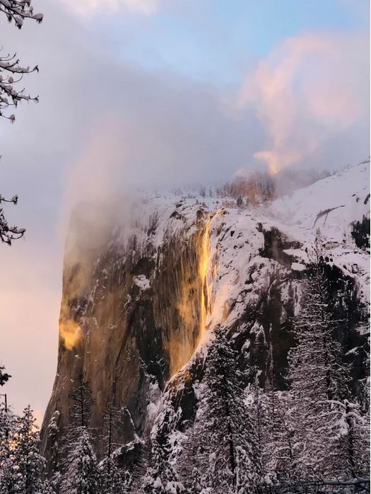 Hiked about a mile in snow with my dog and fiancé, stood in 3 feet snow for more than an hour to witness the majestic Yosemite Firefall