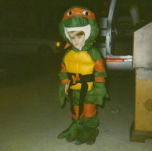 How my homemade ninja turtles costume looked in the 90s