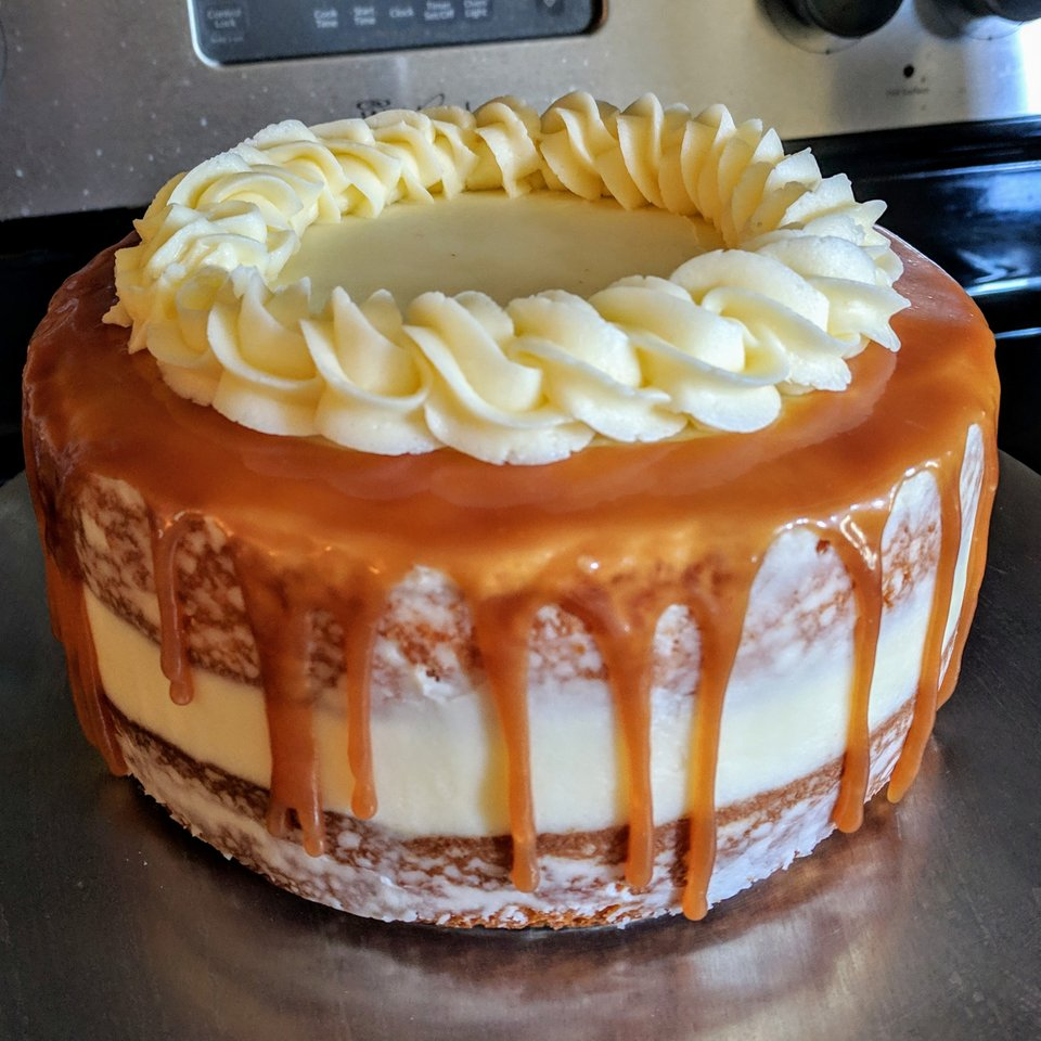 Caramel drip cake with buttercream and caramel filling