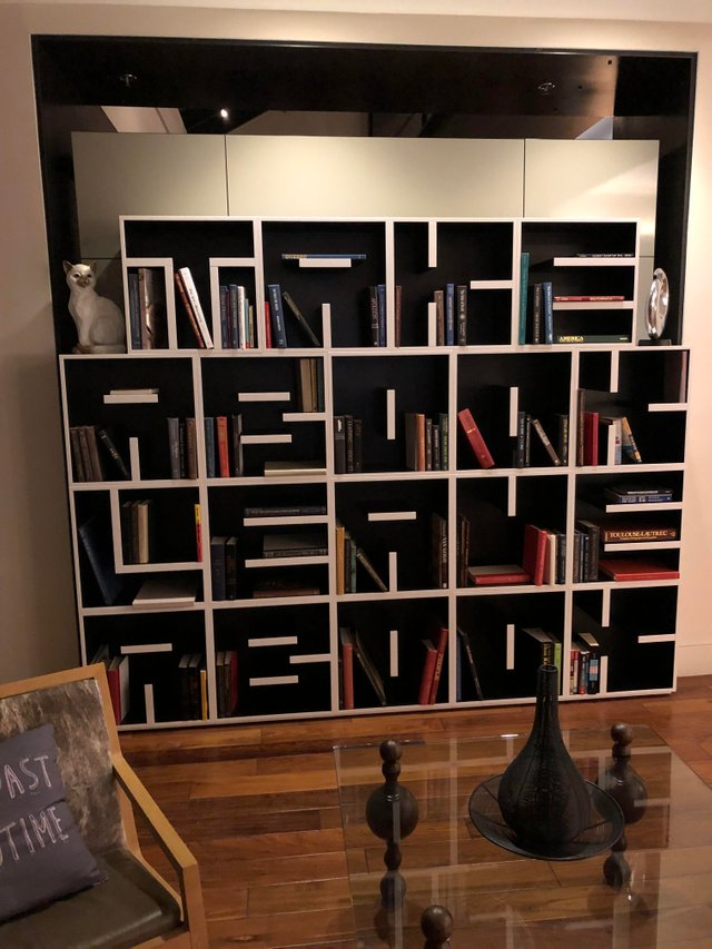 a really cool bookshelf whose shelves spell something, seen at a hotelOC
