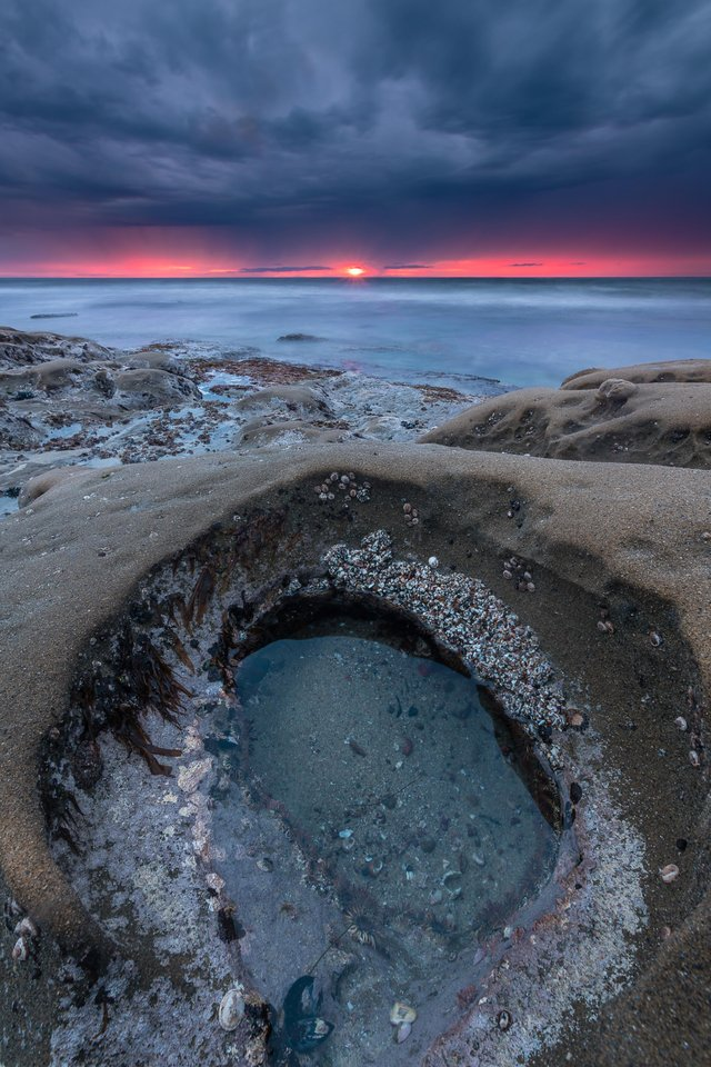 Down in a Hole Sunset in La Jolla California