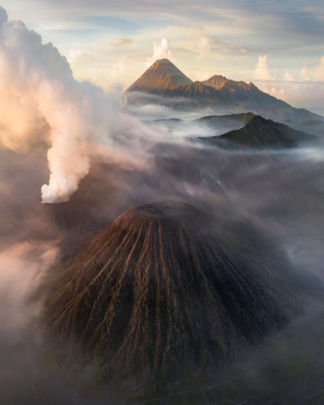 The clusters of volcanoes at the Tengger massif, East Java, Indonesia
