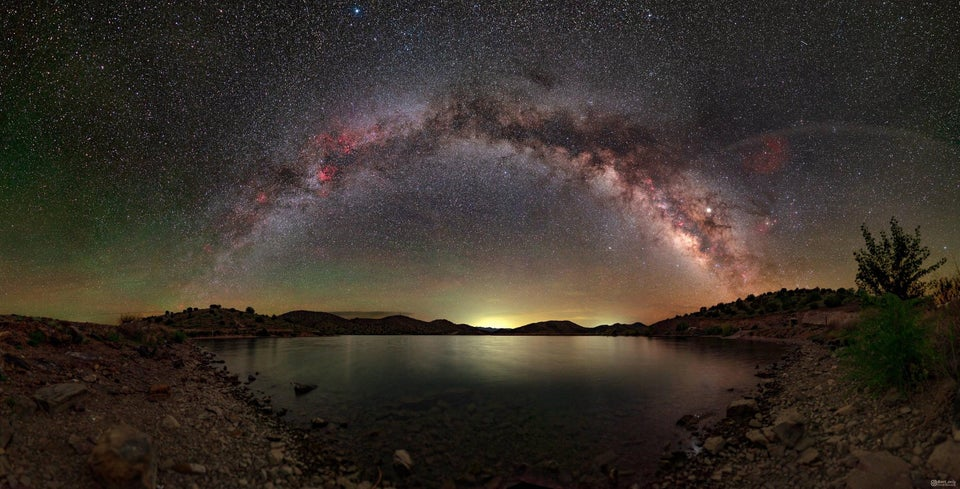 A 72 image panorama of the Milky Way from remote lake in New Mexico