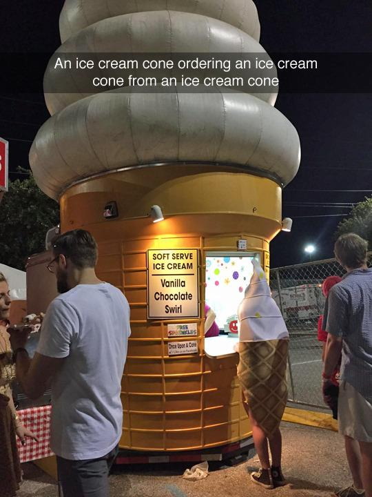 An ice cream cone ordering an ice cream cone from another ice cream cone