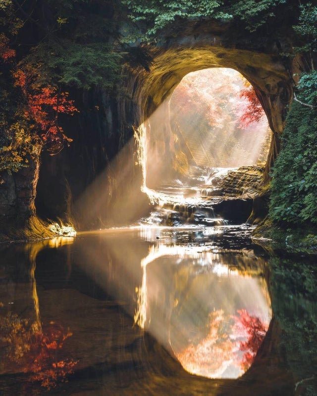 A Japanese cave with perfect water reflection