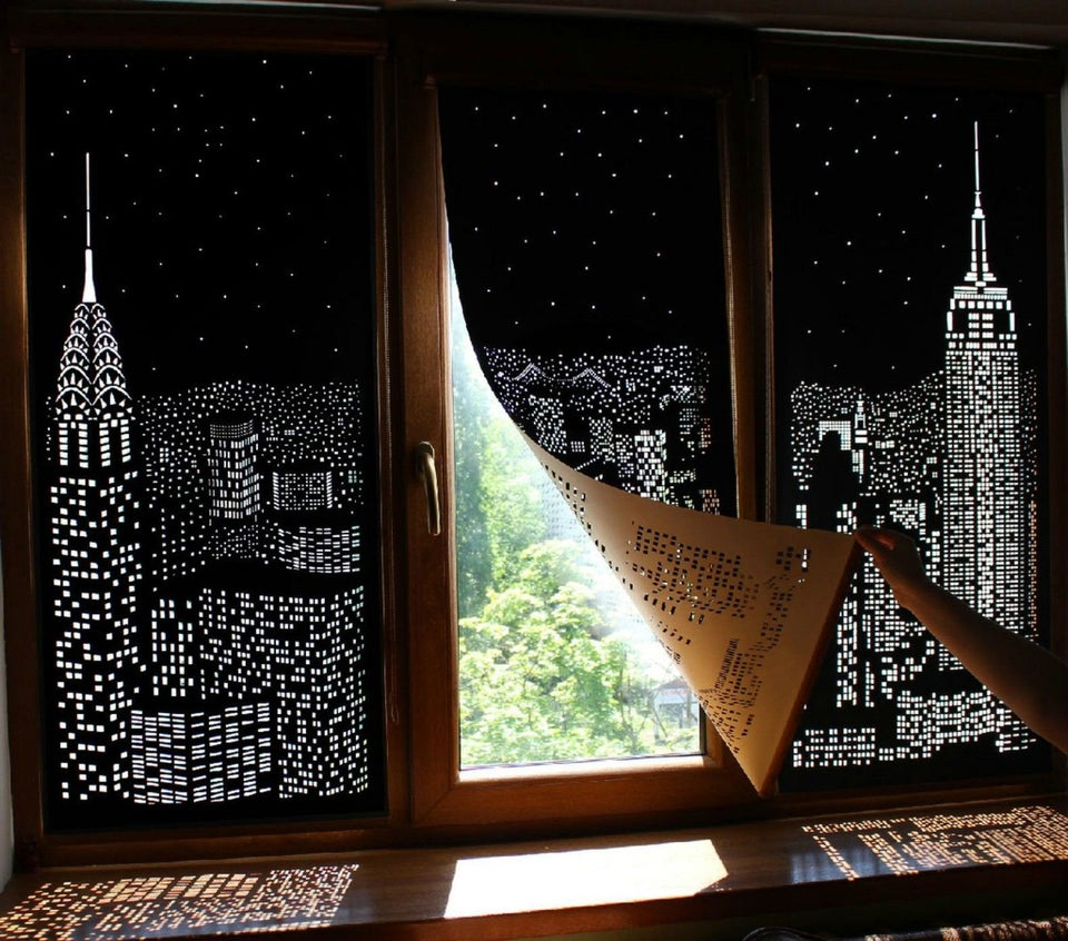 Buildings and Stars Cut into Blackout Curtains