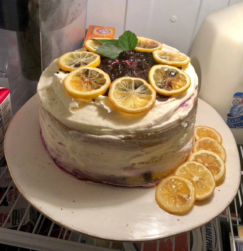 Lemon cake with blueberry Filling and candied lemon slices