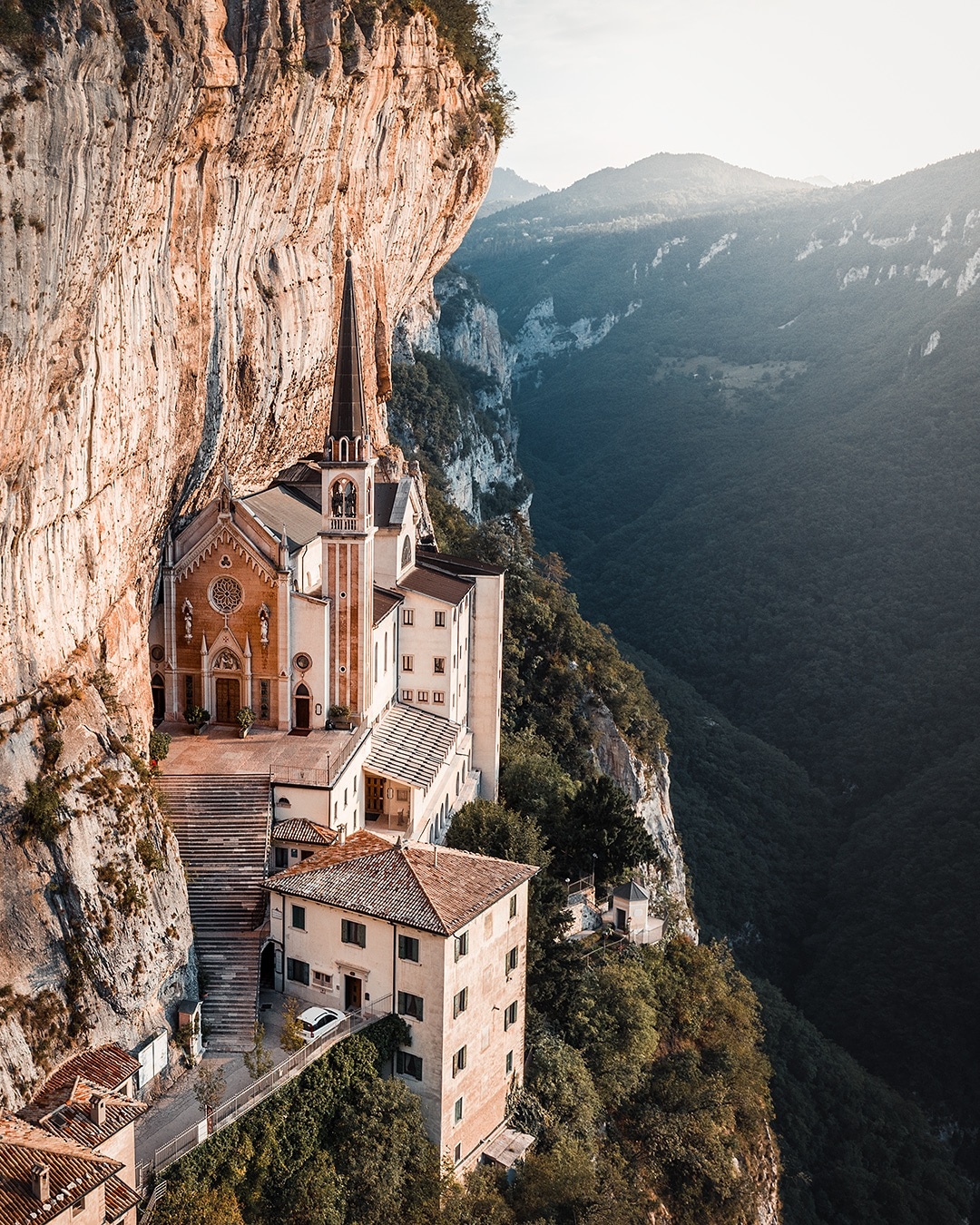 Church in Italy at a cliff