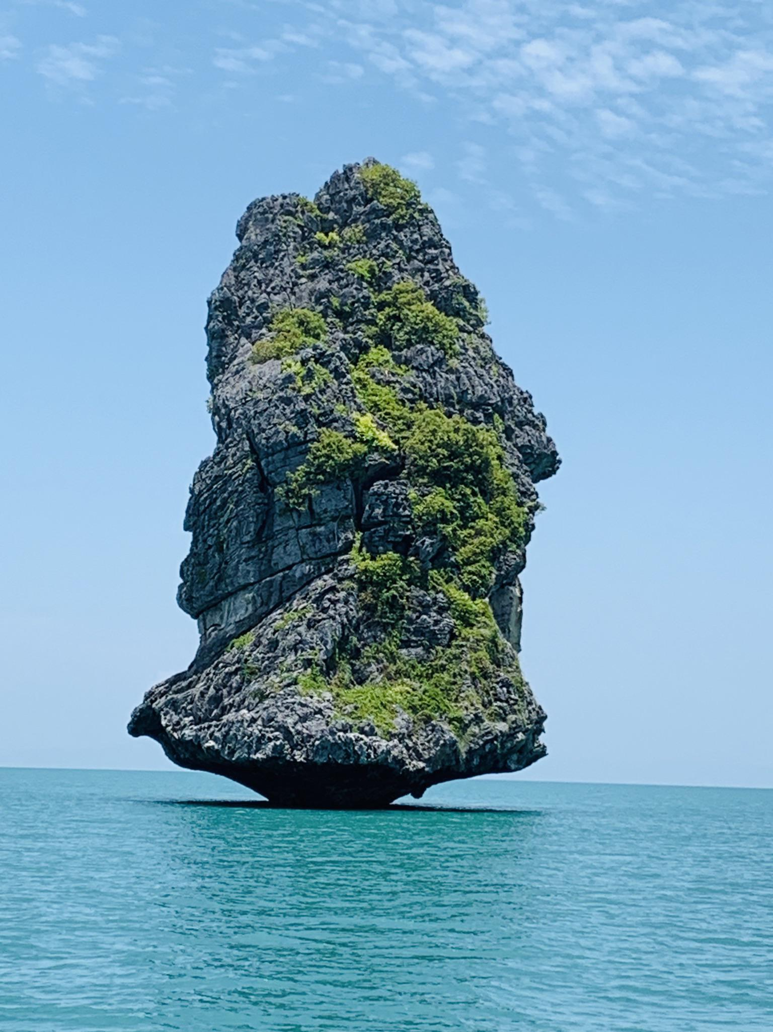 Lone rock in the sea, Anthong Islands National Marine Park