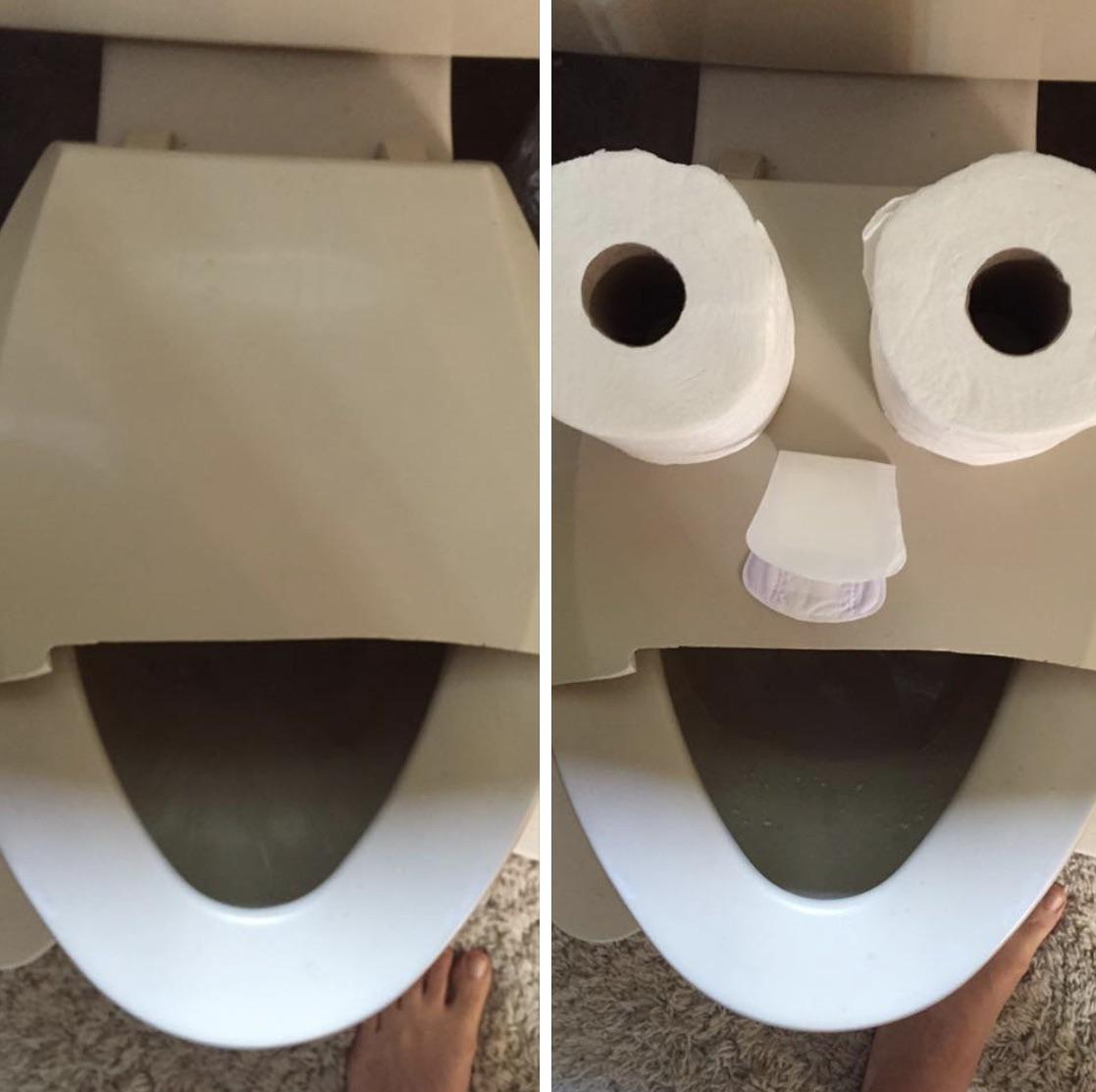 I broke the toilet seat. This is how I broke it to my wife
