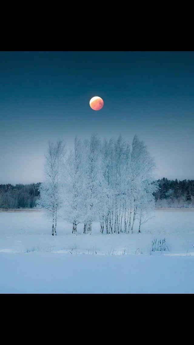 Blood moon in Finland