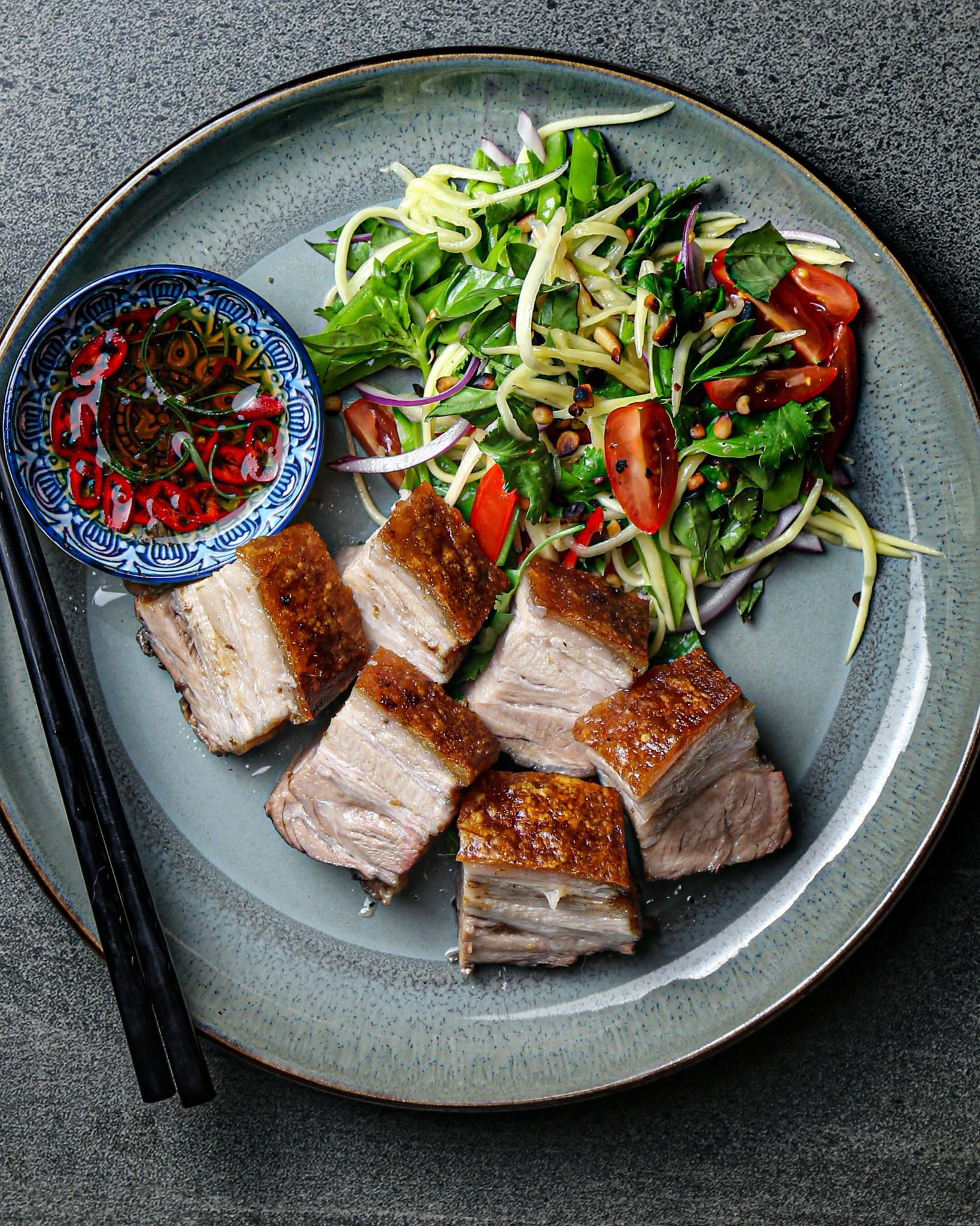 Pork Belly with Spicy Green Mango Salsa