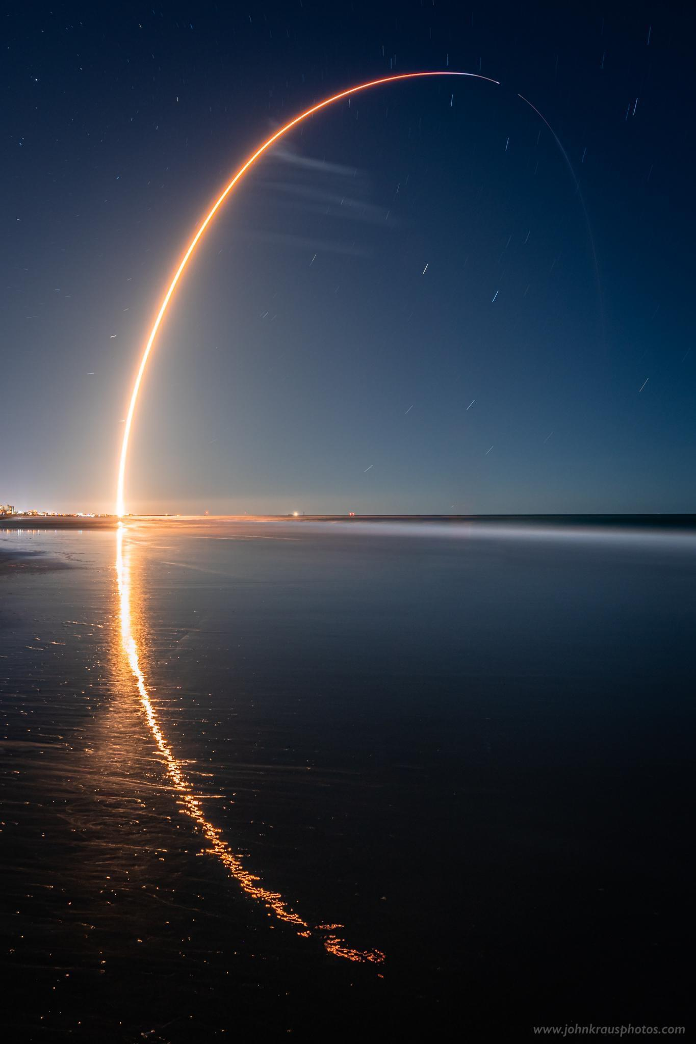 Long exposure photograph I captured of the recent SpaceX Starlink launch and its reflection along the shoreline of the Atlantic Ocean
