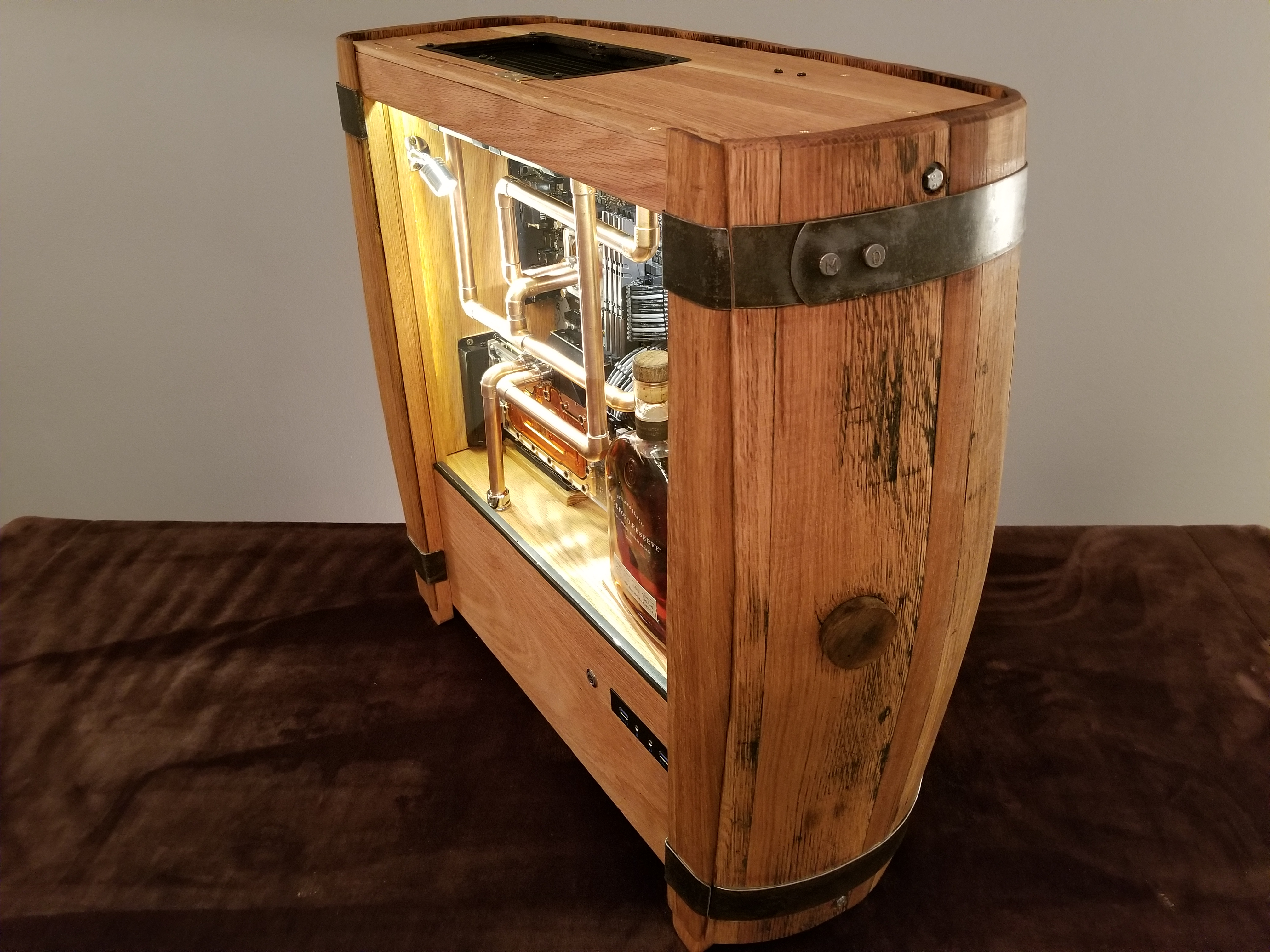 Water Cooled Computer from a Bourbon Barrel