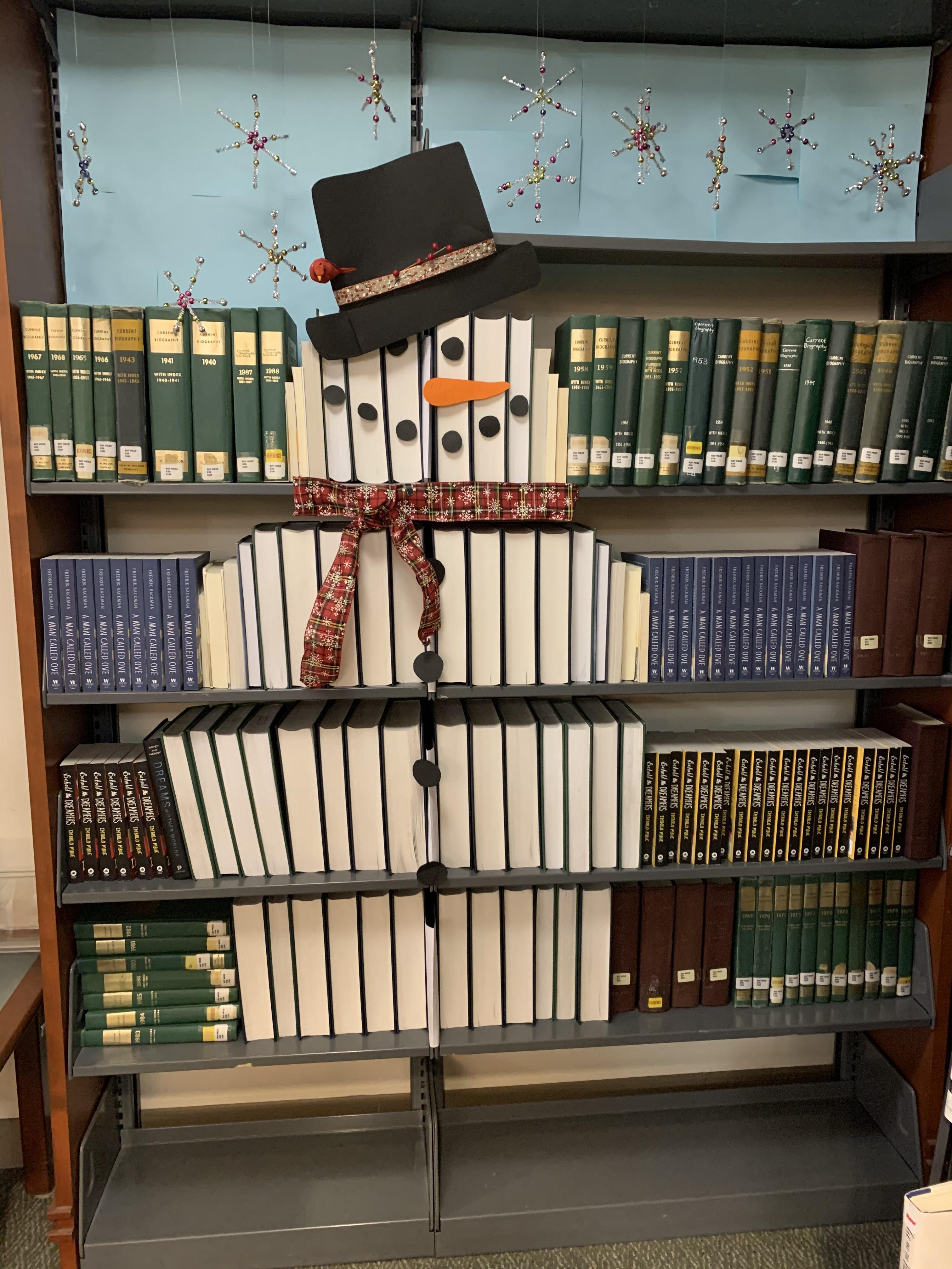 Local library made this snowman out of books