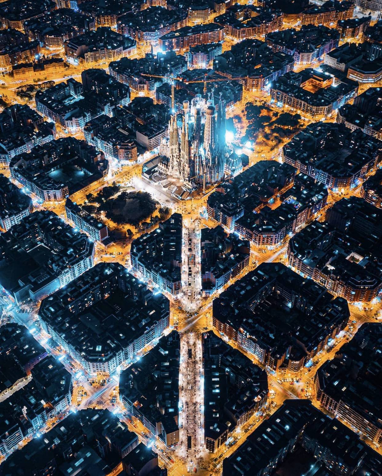 Night shot of Barcelona, Spain