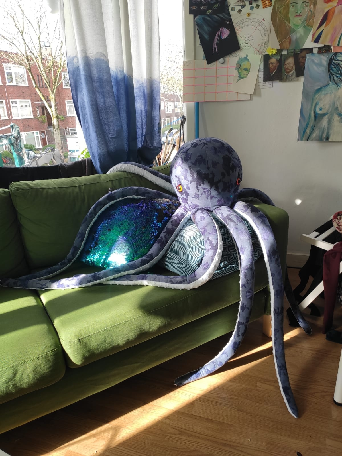 Otto, a giant Octopus plushie made by my mom