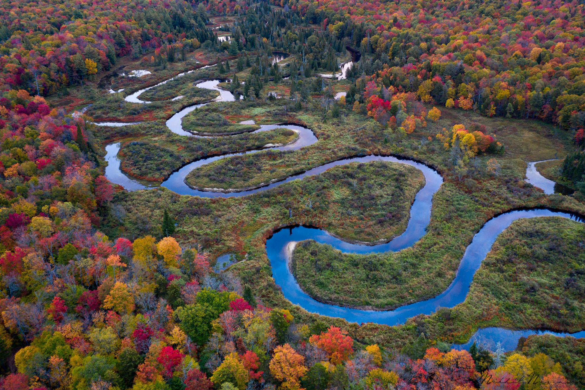 A winding river in the Adirondack Mountains, NY