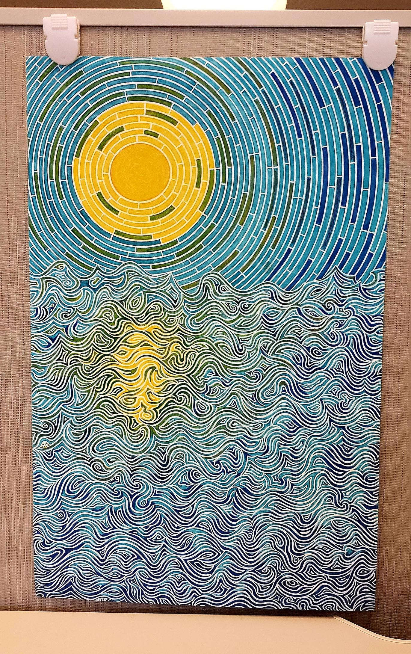 Sun over water, Me, Pen and Ink