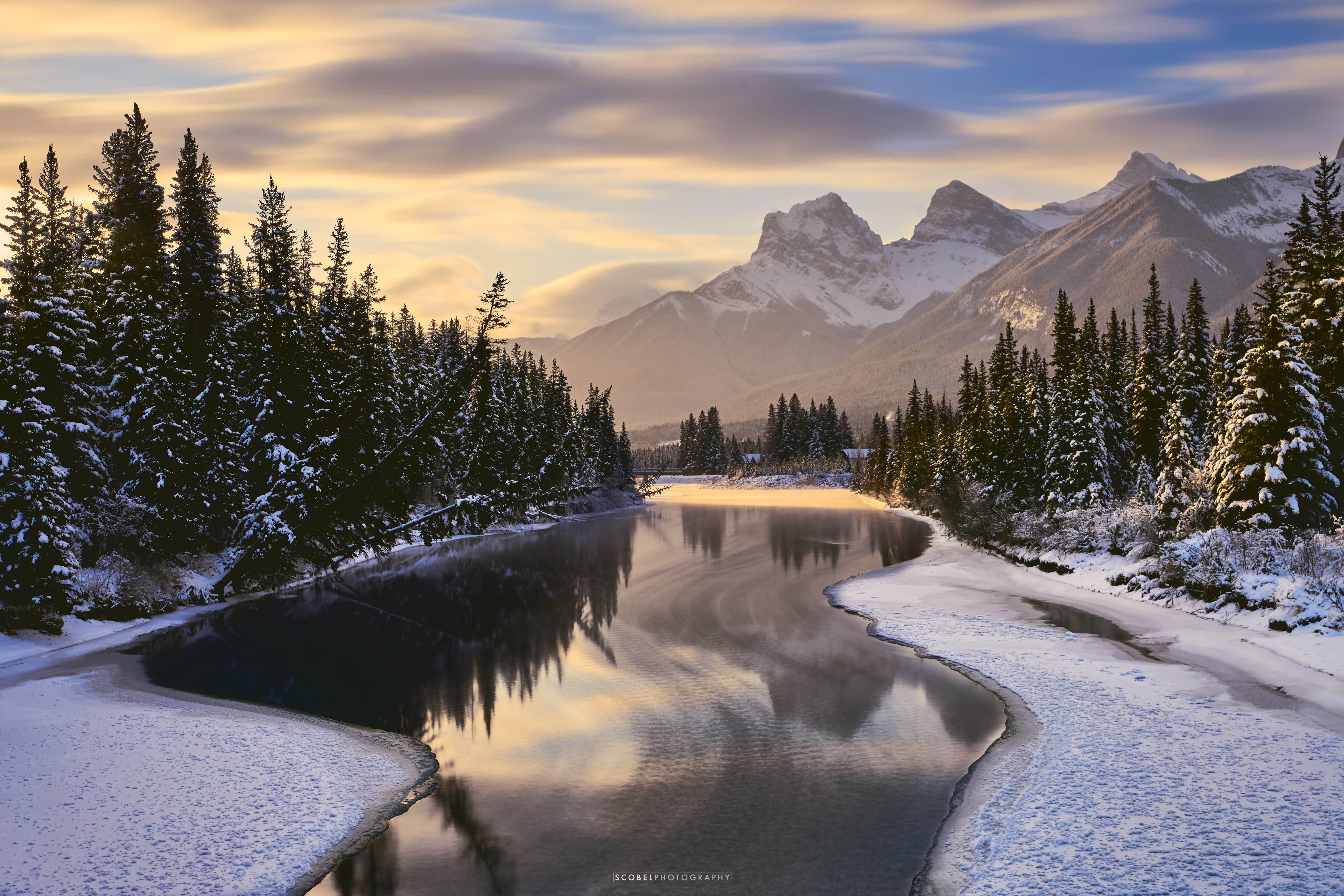 Bow River & Three Sisters in Canmore, Canada