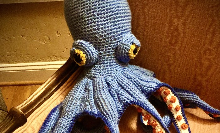 Expecting our first child in September. My mother crocheted an octopus for her, suckers and all