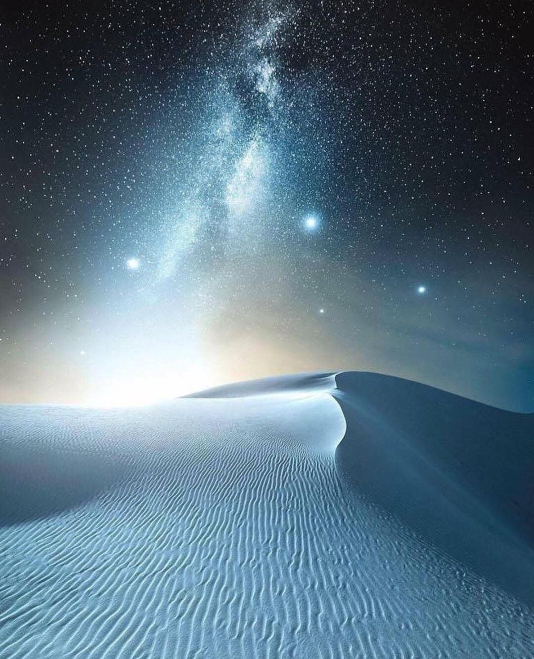 White sand and Milky Way Galaxy, New Mexico