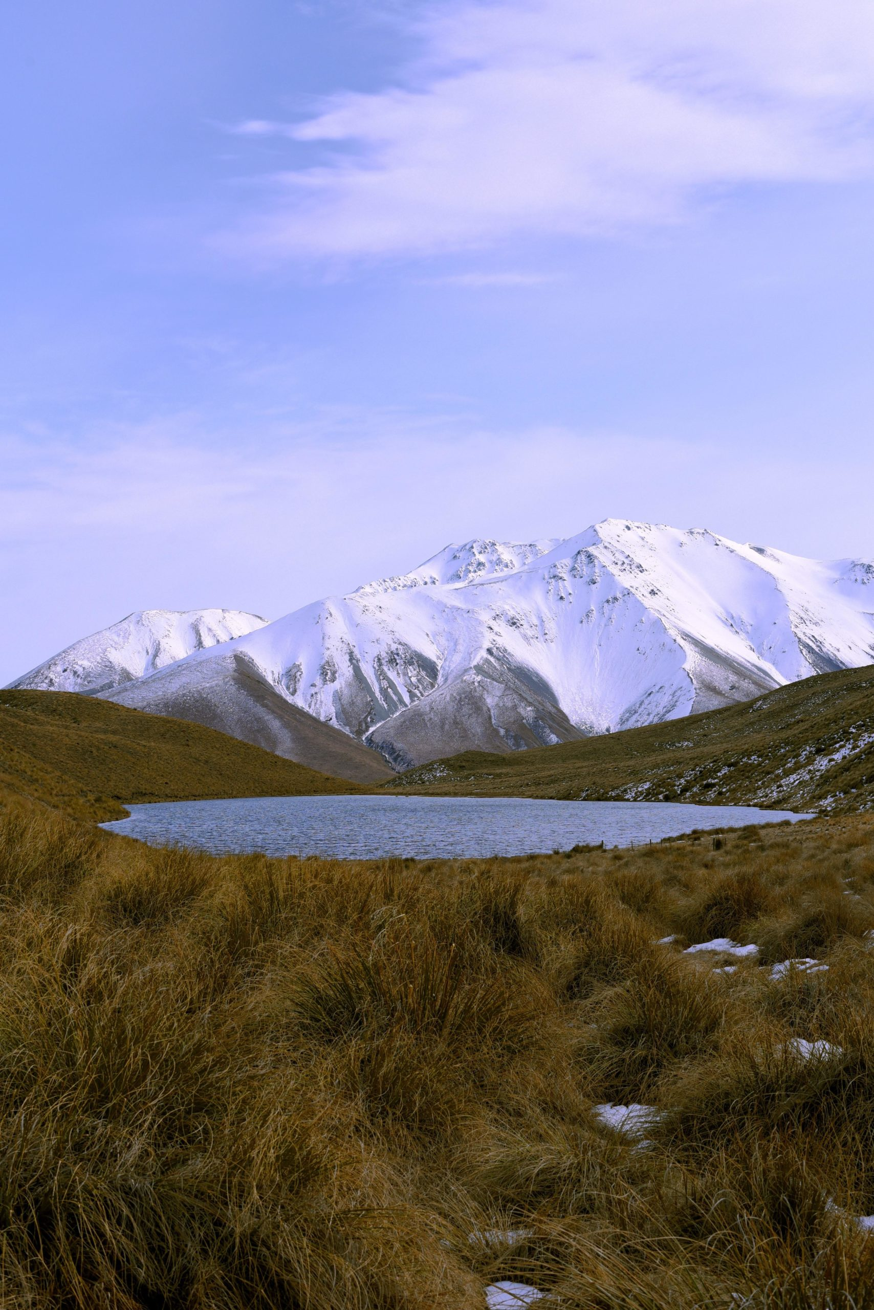 Mystery Lake with Mt. Potts backdrop, New Zealand