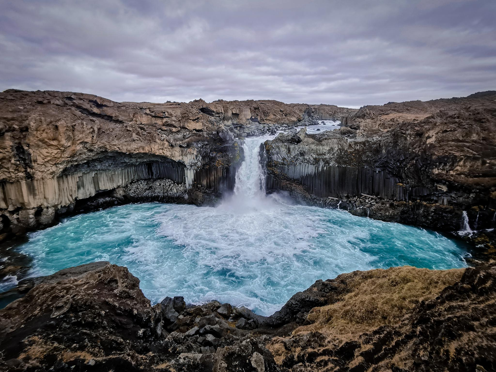 Aldeyjarfoss in Iceland with crystal blue water