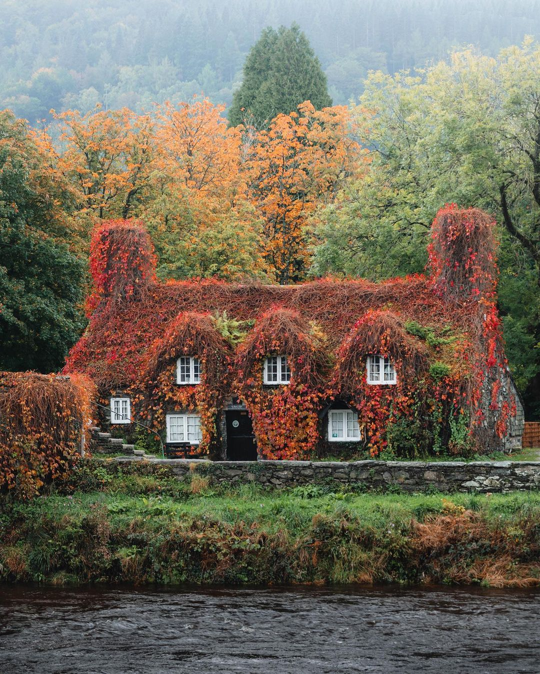 15th-century farmhouse now used as a tea room in Conwy County Borough, North Wales, U