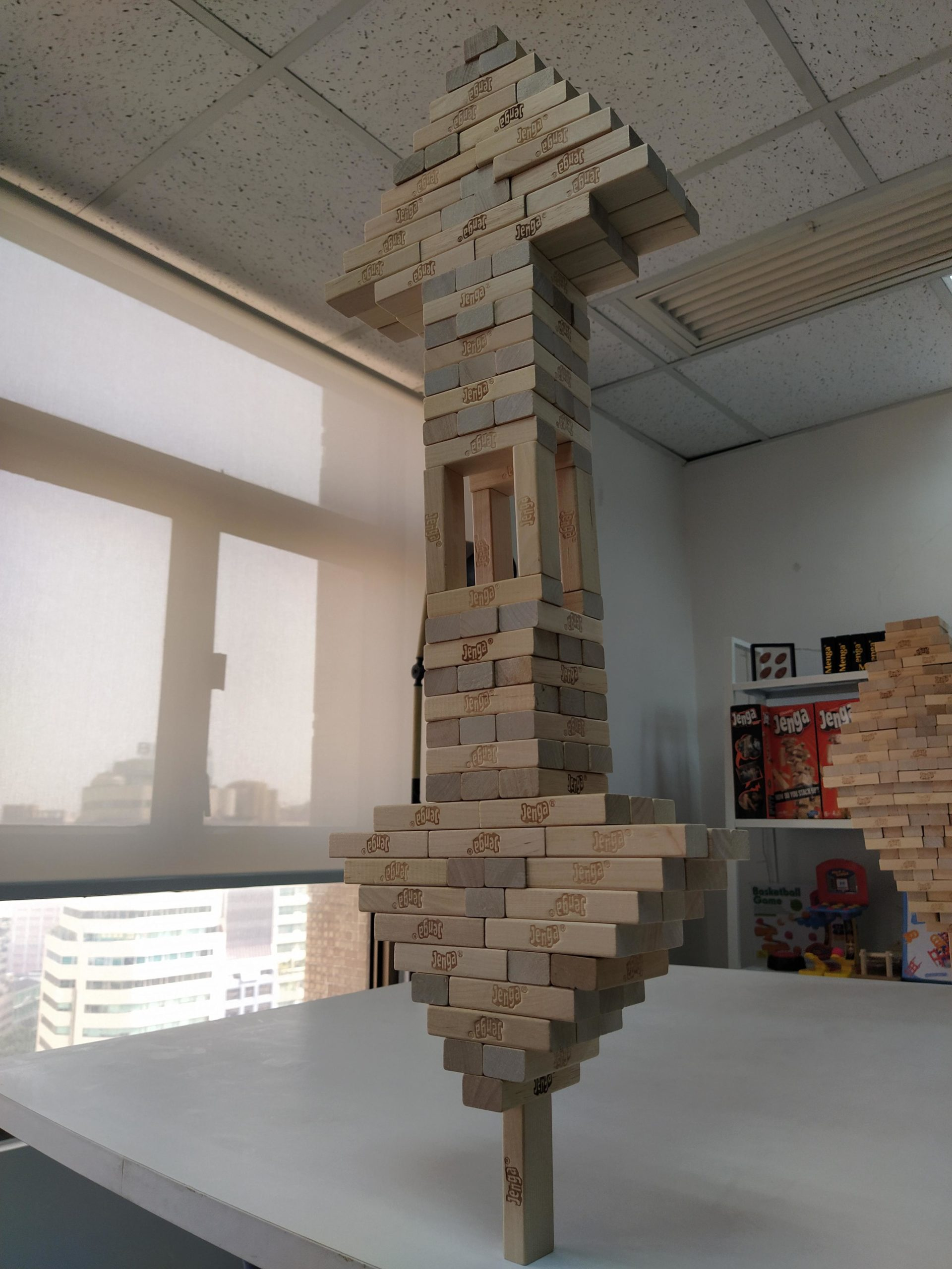 I made the upvote and downvote icon with Jenga blocks