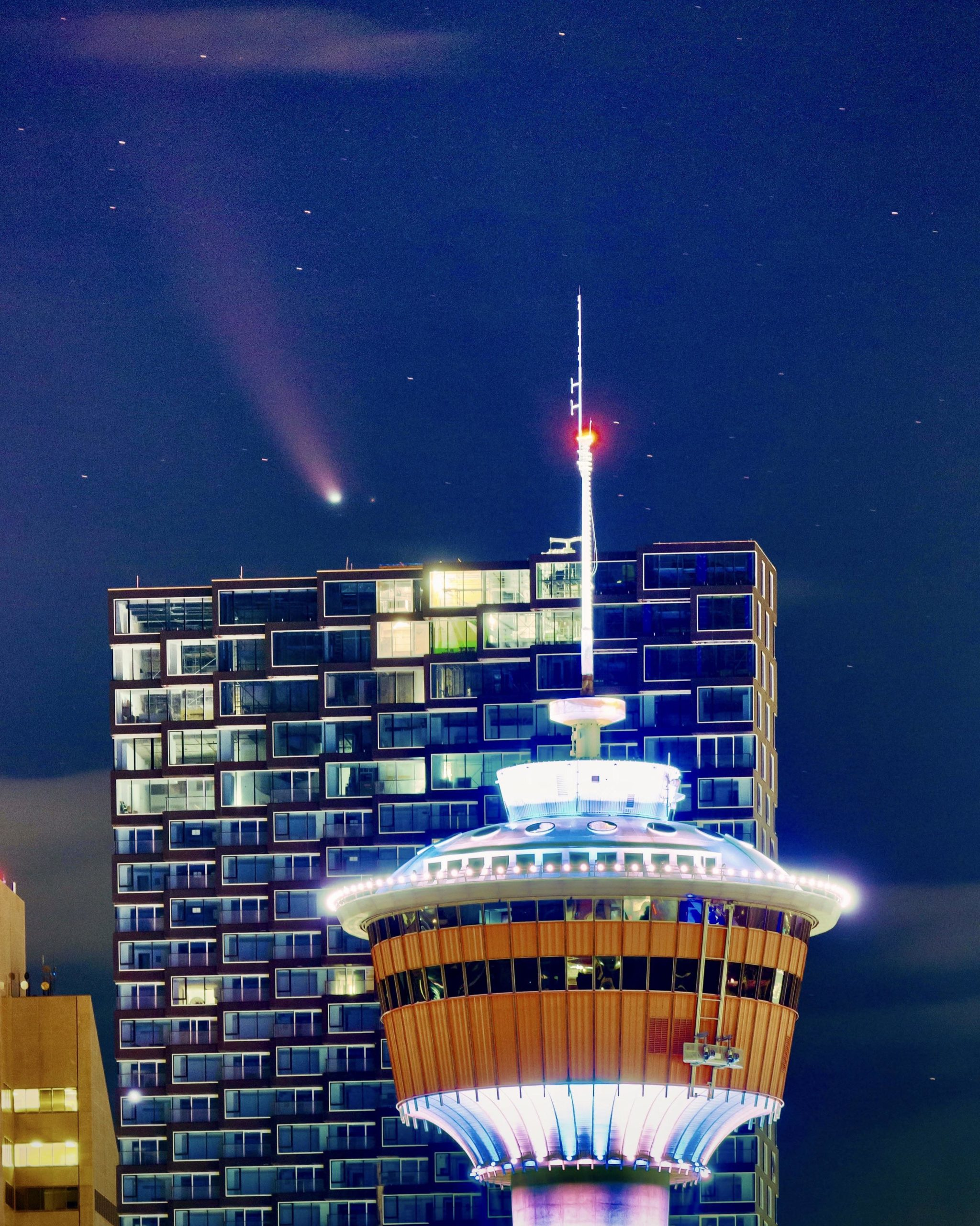 caught a comet in the sky over the Calgary tower in July