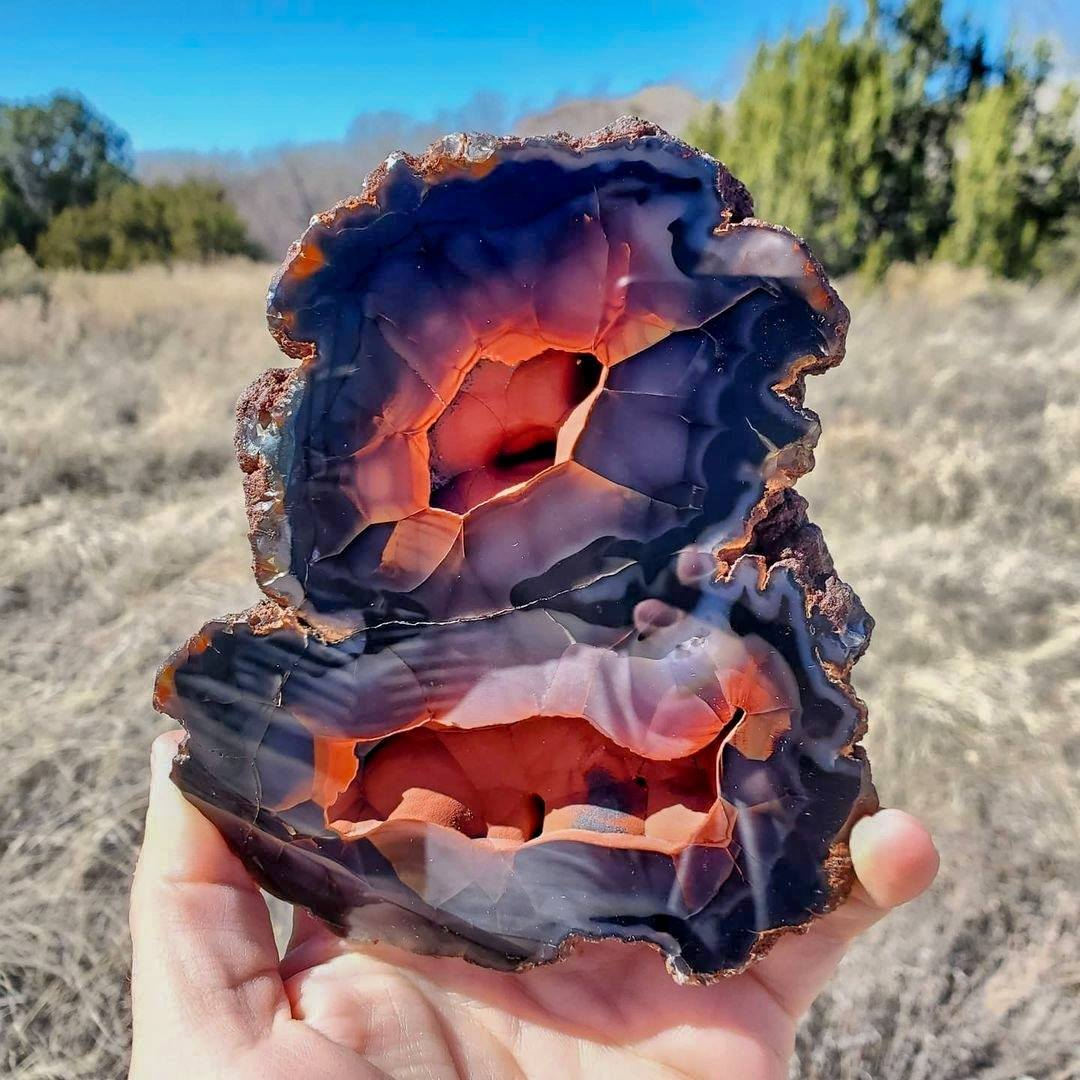 Exotic, beautiful, and rare Patagonian crater agate only found in Argentina